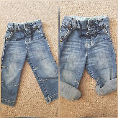 NEXT Baby Boys Jeans Trousers Shorts Adjustable Waist & Roll Up ** 12-18 Months