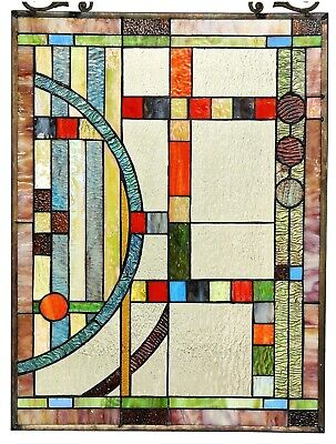 """25"""" x 17.5"""" Mission Lunes Tiffany Style Stained Glass Window Panel"""