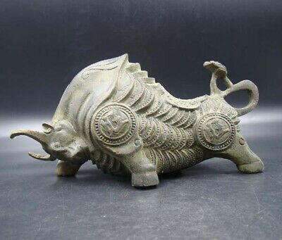 200mm Collectible Handmade Carving Statue Copper Bronze cattle Bull Deco Art