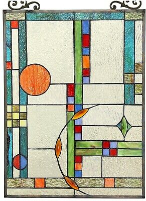 """25"""" x 17.5"""" Spring Mission Tiffany Style Stained Glass Window With Chain"""