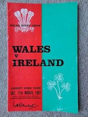 Rugby Union programmes WALES IRELAND 11.03.1967  INTERNATIONAL