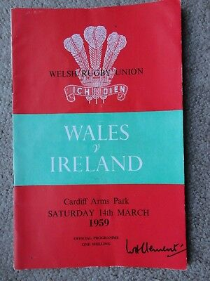 Rugby Union programmes WALES IRELAND 14.03.1959  INTERNATIONAL