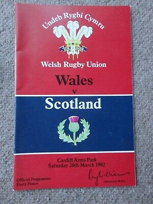Rugby Union programmes WALES SCOTLAND 20.03.1982 HOME NATIONS CHAMPIONSHIP