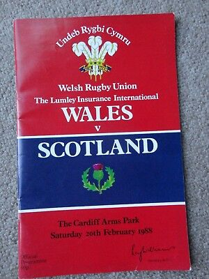 Rugby Union programmes WALES SCOTLAND 20.02.1988 HOME NATIONS CHAMPIONSHIP