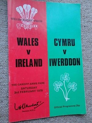 Rugby Union programmes WALES IRELAND 3.02.1979 INTERNATIONAL