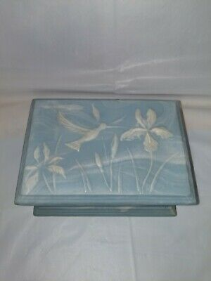 Vintage Humming Bird /Flowers  Blue And White Hand Carved Soap Stone Jewelry Box