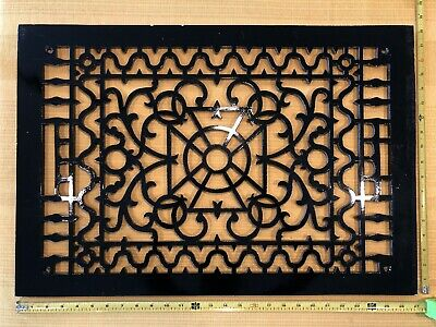 "Antique Vintage Cast Iron Decorative Heat Grate Floor Register 27"" x 18"" Ornate"