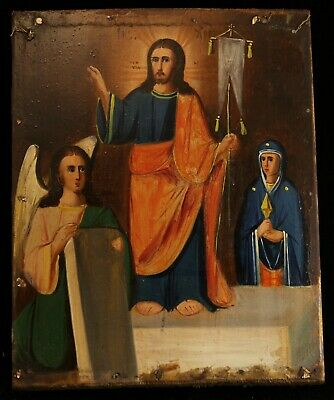 Antique 19th Orthodox Russian Hand Painted Wooden Icon of RESURRECTION OF CHRIST
