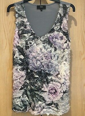 Next Ladies Top Size 12 Fluffy Front Sparkly Pretty Sleeveless Grey Lilac Green