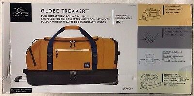 "NEW Skyway Luggage Co. Globe Trekker Two Compartment 30"" Rolling Duffel (GOLD)"