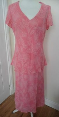 'BNWT' Classics Coral Pink Floral Print Two Piece Set Top & Skirt Lined Size 14
