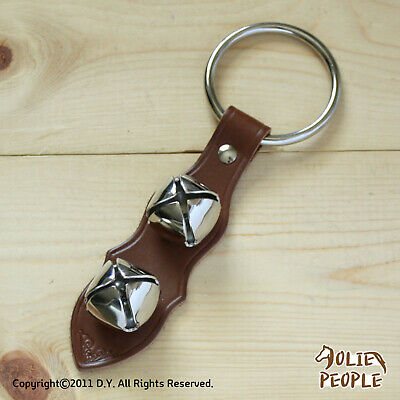 Arctic Sleigh Bell Leather Strap Hanging Door Chimes_BR/SV