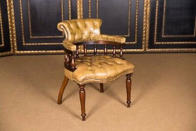 Original Antique English Chesterfield Leather Chair 1890