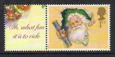 GB 2002 sg LS10 Father Christmas Smiler Sheet Single Stamp With Label Litho MNH