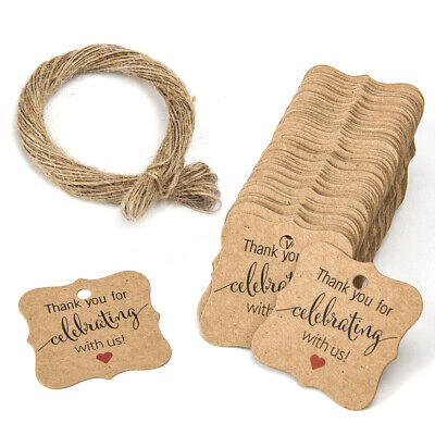 "100pcs Kraft Paper Hang Tags Wedding Party Favor Label ""thank you"" Gift Cards"