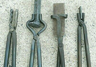 Blacksmith Tongs Tools For Anvil, Knife Making, Blade Tongs, Forge, Hammer, set