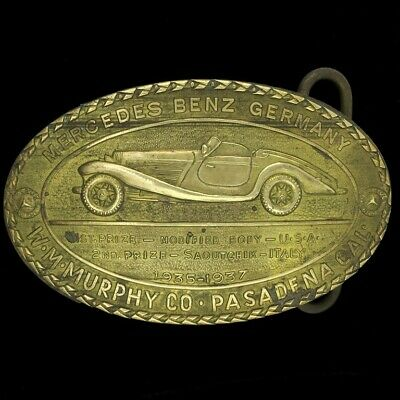 Vtg 70s Mercedes Benz Germany Show Classic Car Co Rare Solid Brass Belt Buckle
