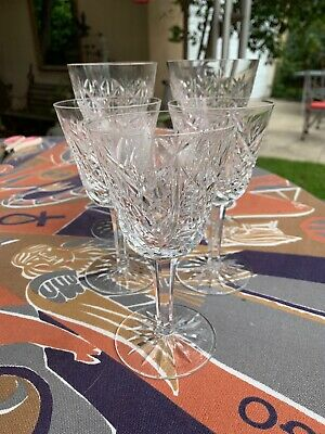 5 Waterford Crystal Cordial Glasses Clare Pattern (3 Small, 2 Large)