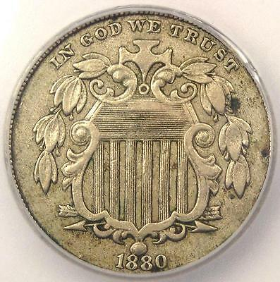1880 Shield Nickel 5C - Certified ICG XF40 Details (EF40) - Rare Key Date Coin!