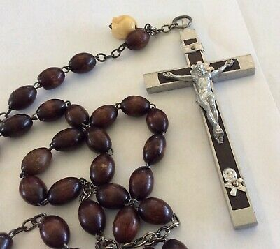"Vintage Nuns Rosary 32"" Long with Large Brown Beads Made in Italy"