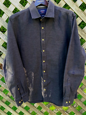 Charles Tyrwhitt Weekend Mens Navy Blue Button Front L/S Shirt Size Large E408