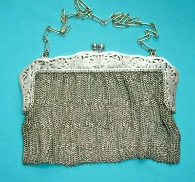 Periods & Styles Antique Art Deco Two Tone Silver Frame 20 Brass Ball Drop Tassel Mesh Purse Antiques