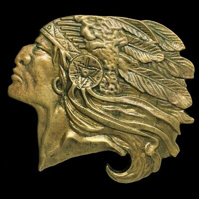 Vintage 70s Native American Indian Chief Tribal Biker Western Brass Belt Buckle