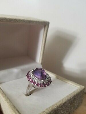 Rose De France Amethyst and Garnet Sterling Silver Ring