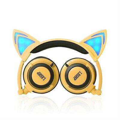 Children Cartoon Cat Ear Headphone Glowing Light Portable Wired Headband