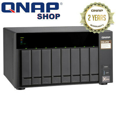 QNAP TS-873-4G 8 Bay Diskless NAS AMD RX-421ND Quad Core 2.1GHz CPU 4GB RAM