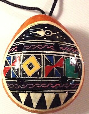 VTG OCARINA Flute PENDANT with VIVID Color Mosaic Hand Painted Clay;^)