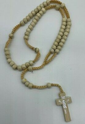 Cream Rosary Beads Rope Wooden Religious Necklace Jesus On Cross Baptism Church