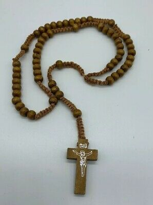 Light Brown Tan Rosary Beads Rope Wooden Religious Necklace Jesus Cross Church