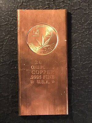 .9995 Pure Copper Ingot 1 Pound Bar Cannabis Marijuana Colorado Washington Legal Bullion