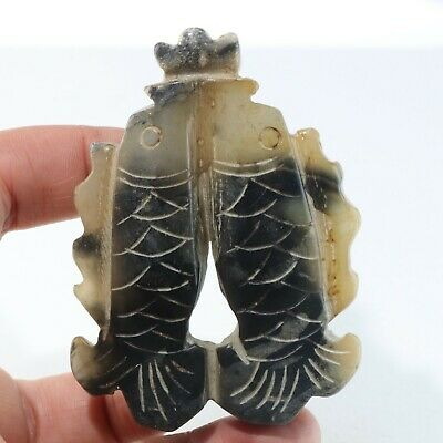 Chinese Exquisite jade Carved fish pendant statue N1331