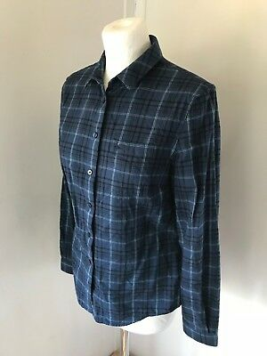 JACK WILLS Navy Blue Check Ladies Casual Brushed Cotton Blouse Shirt Size 8
