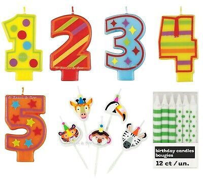 JUNGLE ANIMAL KIDS Birthday PARTY Supplies NUMBER Candles Birthday Cake Toppers