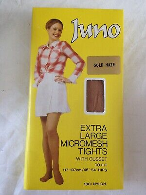 Vintage Tights 1960's Juno Brand Unopened Old Stock Large Gold Haze Colour