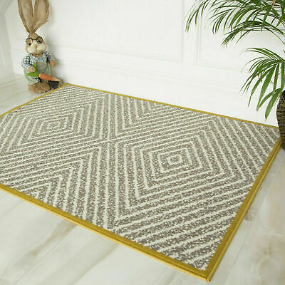 Grey & Ochre Yellow Scandi Living Room Rug Budget Cheap Boho Non Shed Area Rugs