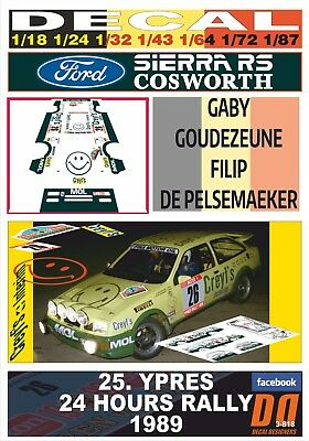 DECAL FORD SIERRA RS COSWORTH G.GOUDEZEUNE YPRES 24 HOURS R. 1989 11th (03)
