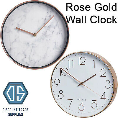 Rose Gold Wall Clock Copper Effect Hanging Round Stylish Marble or Quartz Face