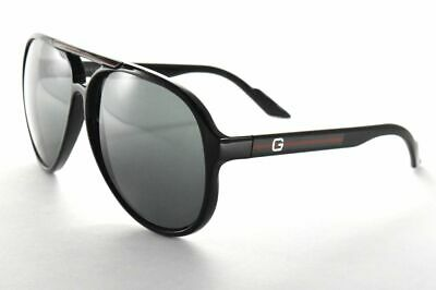 8678e1dd385 GUCCI GG 1627 s D28r6 Shiny Black Gray Aviator Sunglasses  Gray lenses