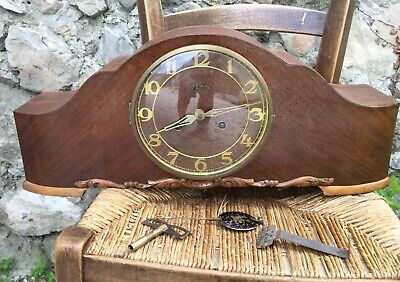 ANTIQUE FRENCH 8 DAY Pendulum CLOCK DESK, BOUDOIR, MANTLE Wood Artdeco WORKING