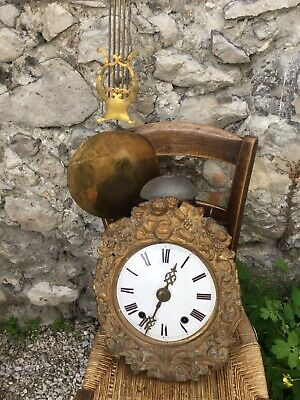 Antique french comtoise Morbier clock 1800's Brass Angels Wag On Wall Harvest
