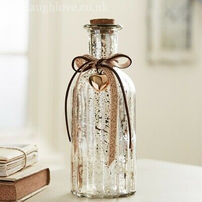 Antique Silver Glass Bottle with Script Ribbon and Gold Heart - Tall