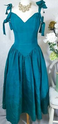 Monsoon Green Silk Victorian Style Gothic Vintage V Neck Dress Size UK 10