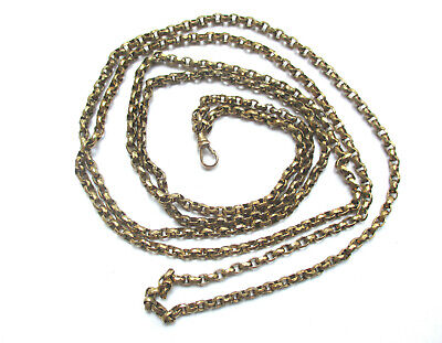 """Antique Victorian Pinchbeck / Gold Plated Guard or Muff Chain 53"""" , 39.5g"""