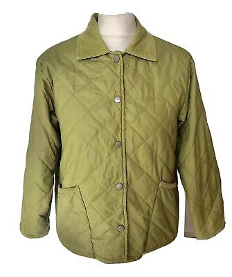 """GAP Green Quilted Corduroy Collar Girl's Lightweight Jacket M/age 8-10 Yrs. L23"""""""