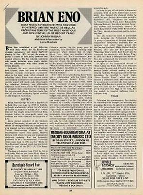 Brian Eno Roxy Music UK Discography article