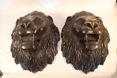 Two Heavy Bronze lion heads. Cast in Europe. In good condition.